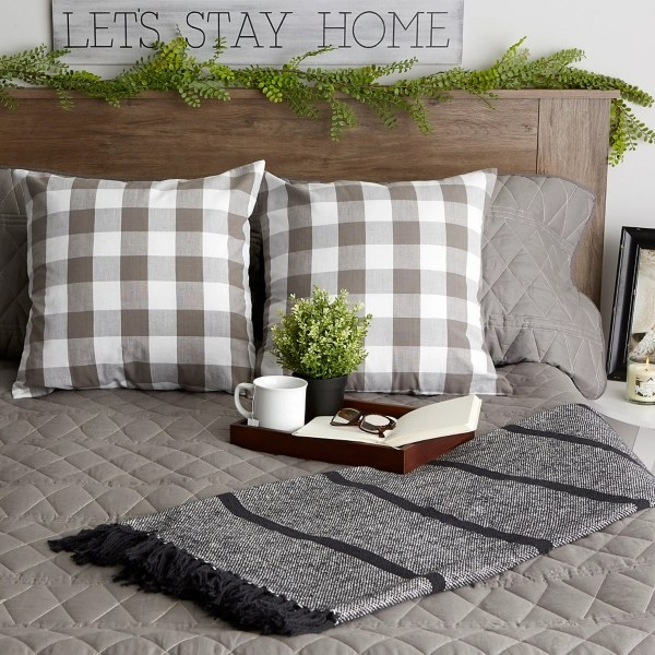 gray and white checkered pillow covers set of 2