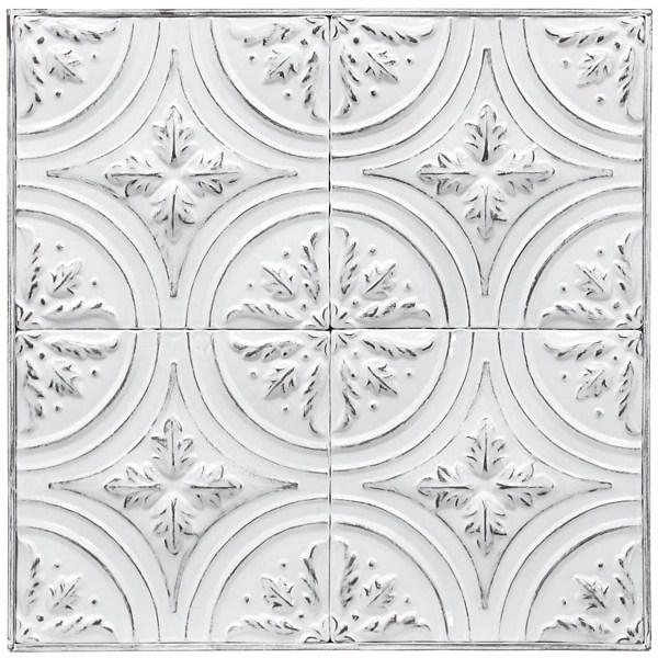white vintage metal ceiling tile wall plaque