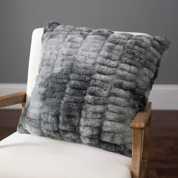 gray ruched faux fur pillow