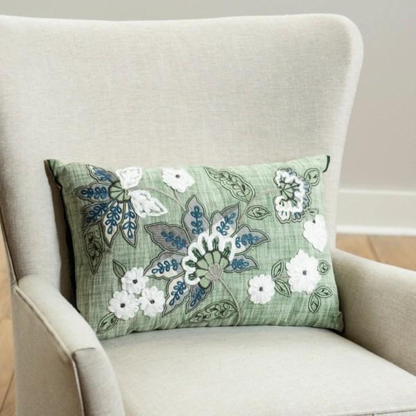 green jacobean embroidered lumbar pillow