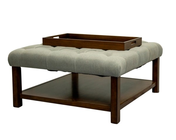taupe upholstered ottoman coffee table