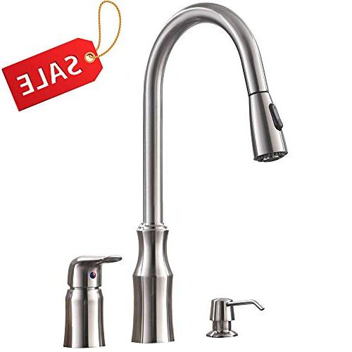 hotis 3 hole kitchen sink faucet with pull