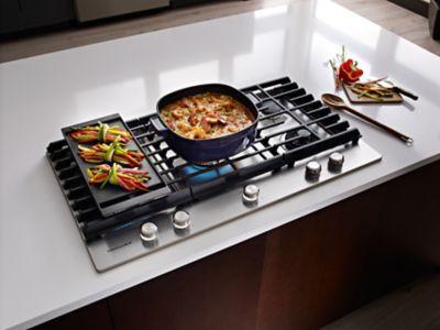 5 Burner Stainless Steel Gas Cooktop kcgs956ess KitchenAid