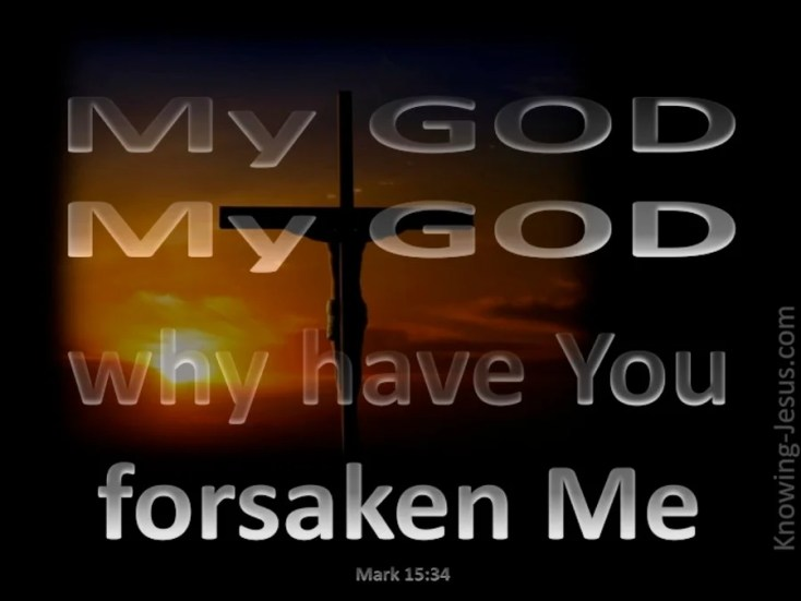 "Image result for Jesus on the cross uttering ""My God, my God why have you forsaken me"""