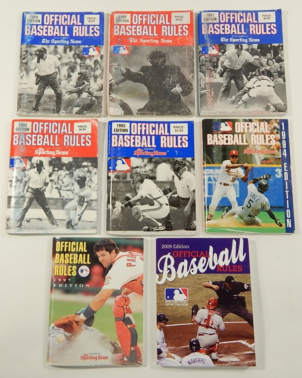 Lot Of 8 Official Baseball Rules Book 1989 1990 1991