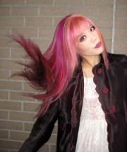 candy pink streaked hair harajuku