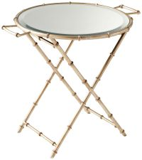 Amelia Glass Top Antique Silver Tray Table - #10F88 ...