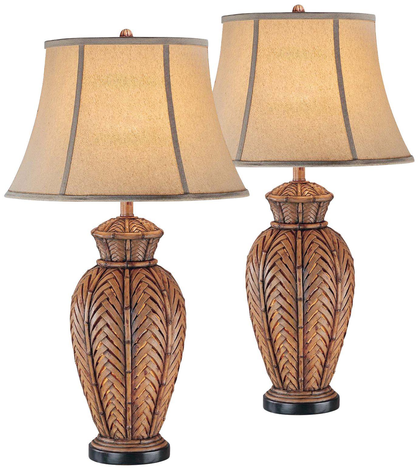 Onairo Wicker Night Light Table Lamp Set of 2