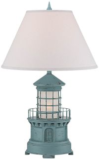 Nolensville Lighthouse Sky Blue Night Light Table Lamp ...
