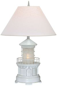 Lighthouse Antique White Coastal Table Lamp with ...