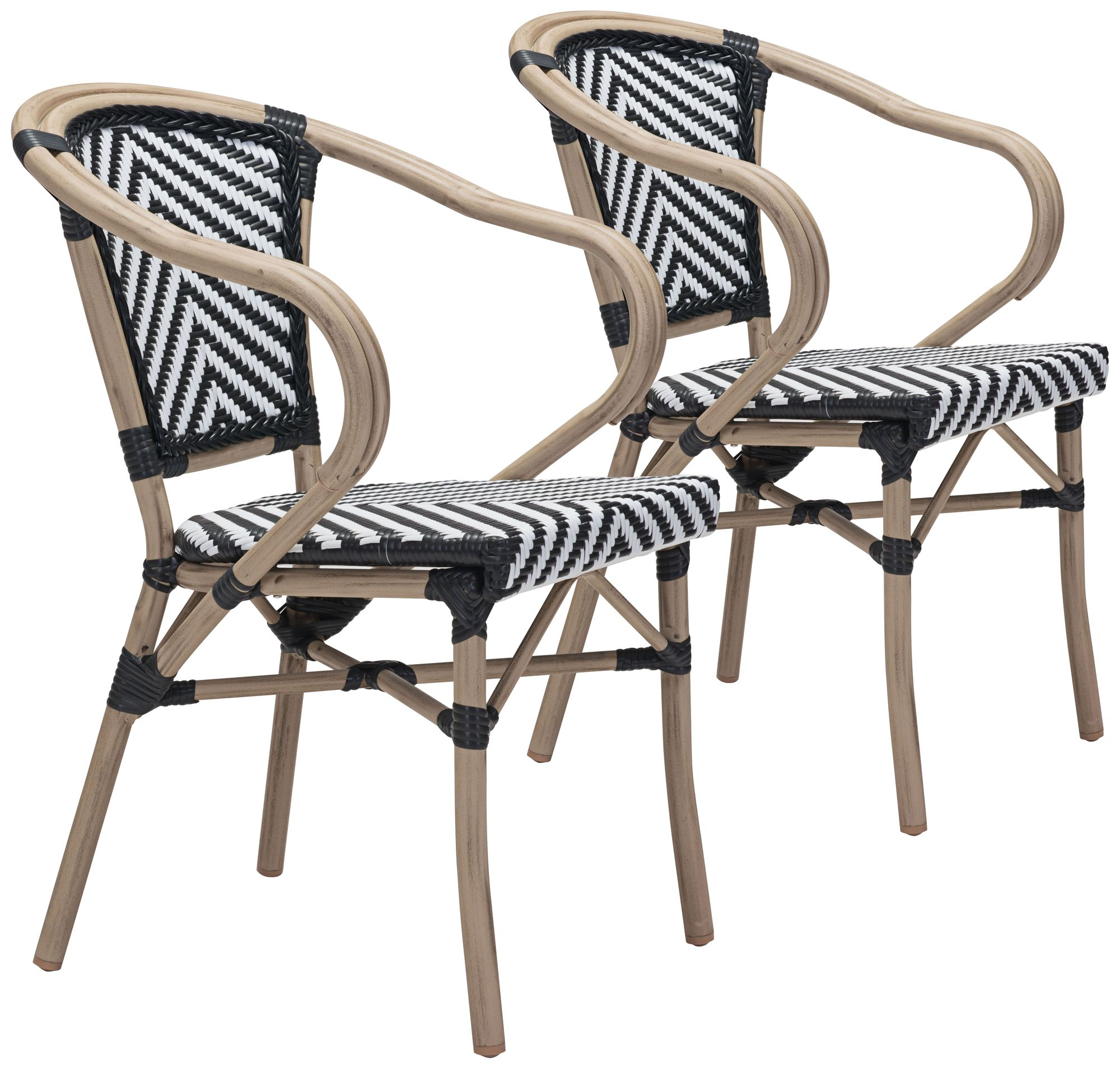metal outdoor chair beach with cooler furniture patio sets luxury looks lamps plus zuo paris black and white dining armchair set of 2