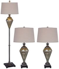 Perla Mercury Glass Black 3-Piece Floor and Table Lamp Set ...