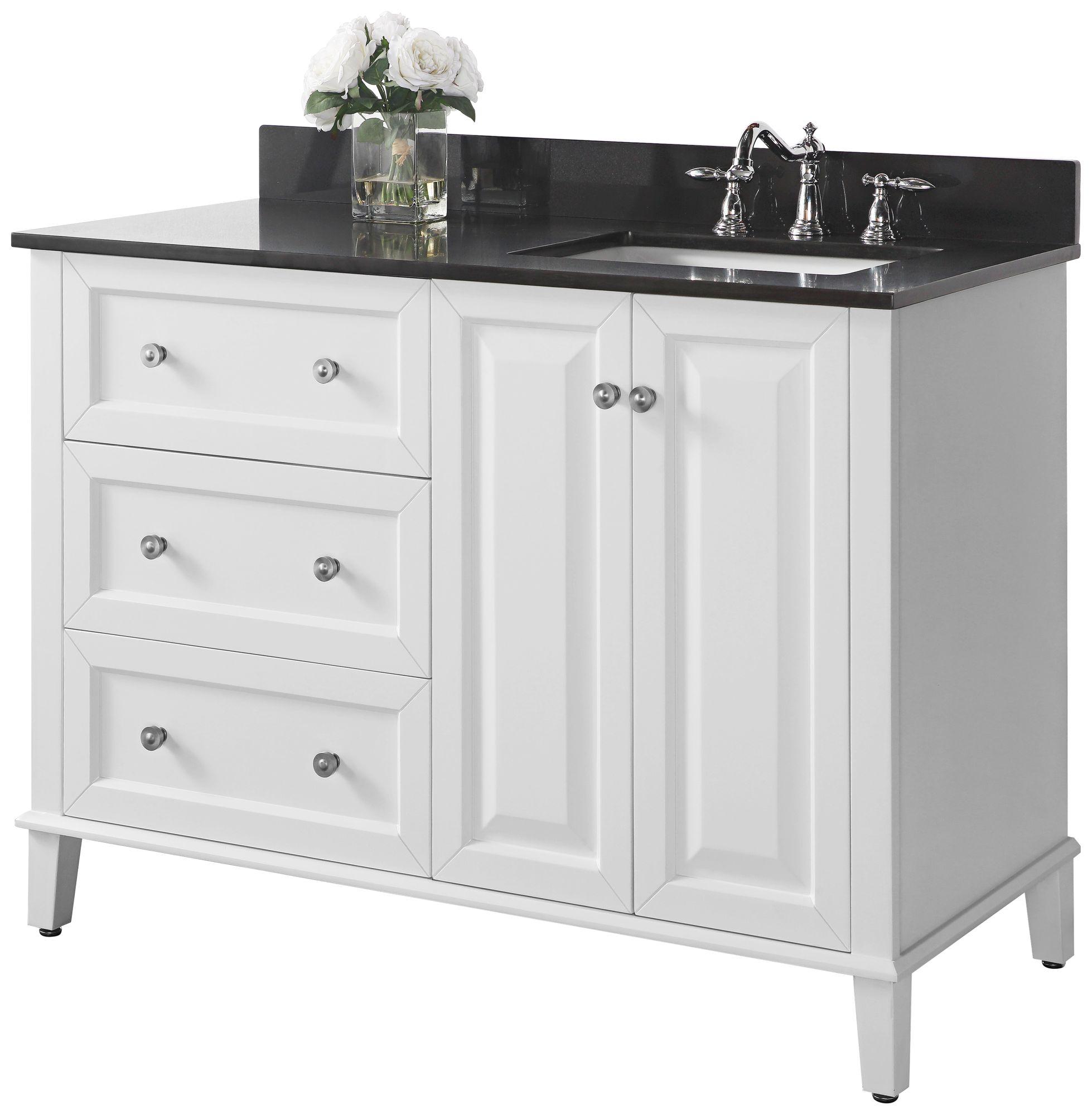 hannah 48 white granite top off center right sink vanity