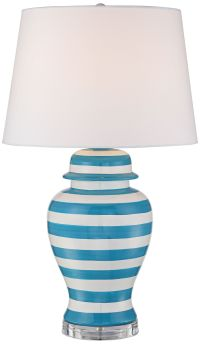 Sea Island Teal Stripe Ceramic Table Lamp - #1P978 | Lamps ...