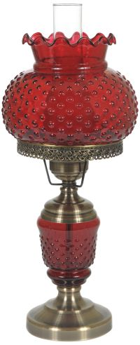 "Cranberry Hobnail Glass 23"" High Hurricane Table Lamp"