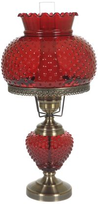 "Cranberry Hobnail Glass 26"" High Hurricane Table Lamp"