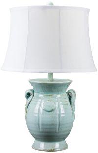 St Tropez Aqua Blue Urn Ceramic Table Lamp - #24R94 ...