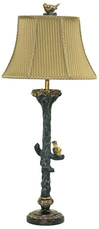 Bird On Branch Black and Gold Leaf Table Lamp
