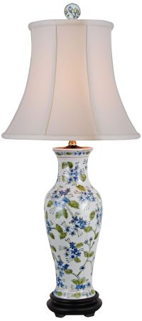 Green And Blue Floral Porcelain Vase Table Lamp - #2Y416 ...