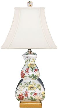 Devin Multi-Color Porcelain Square Gourd Accent Table Lamp ...