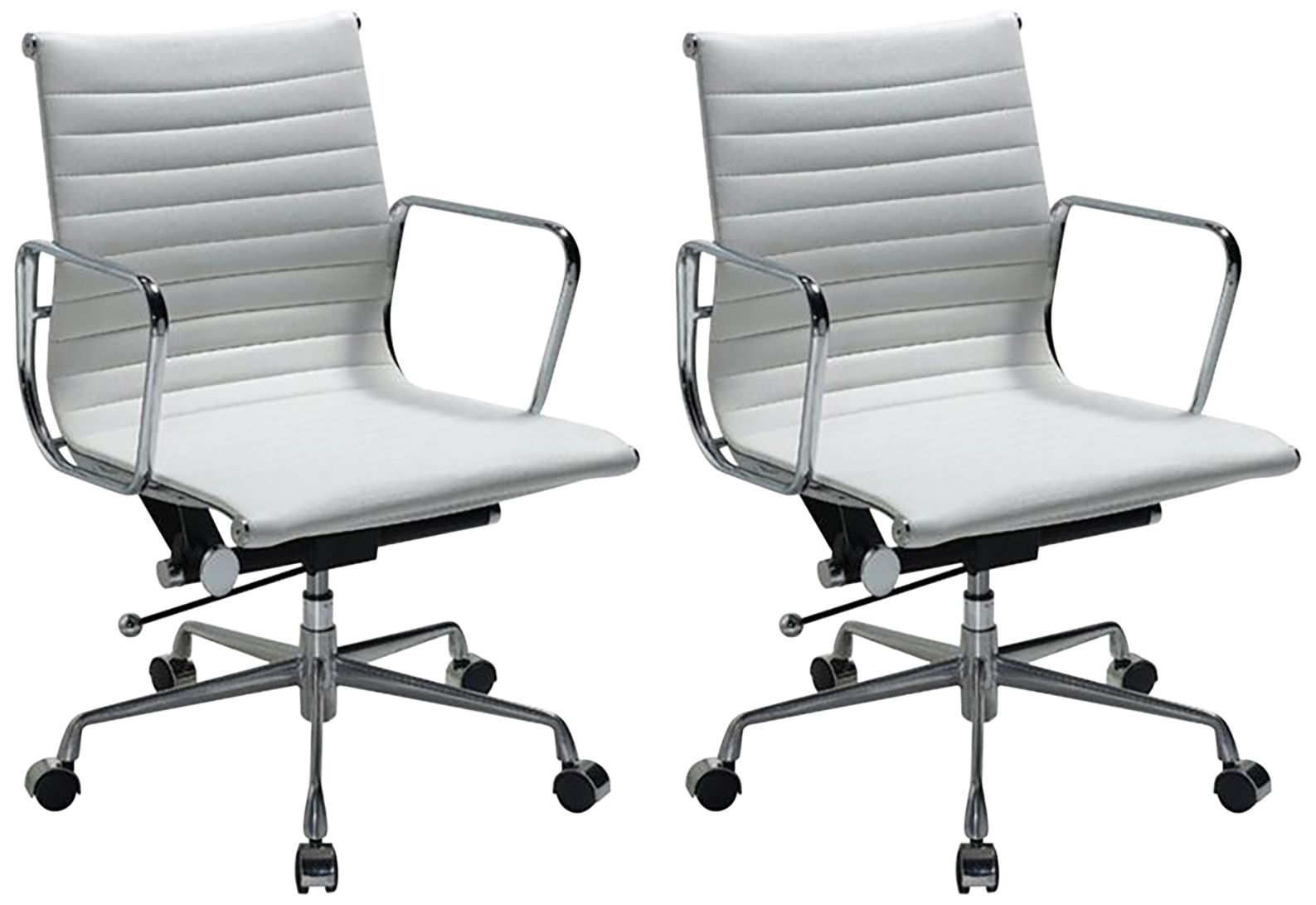 ivory leather office chair brown living room chairs white seating lamps plus ellwood mid back adjustable set of 2