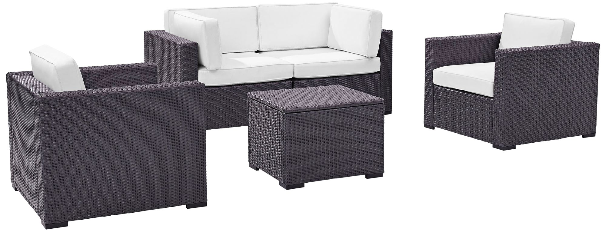 biscayne white fabric 5 piece 4 seat outdoor patio set