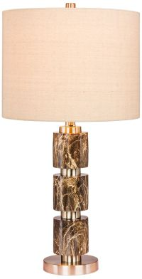 Rowland Green Faux Marble w/ Steel Stacked Table Lamp ...