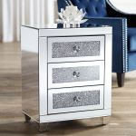 Details About Gia 20 Wide Mirrored Silver 3 Drawer Side Table