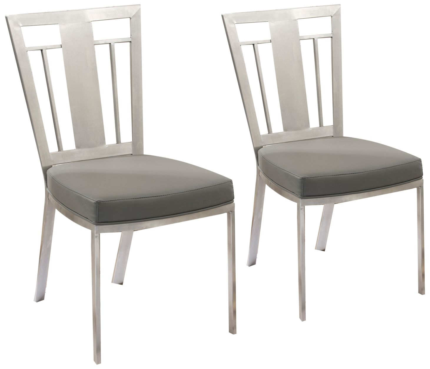 faux leather dining chairs dxr racing chair cleo gray set of 2 39c65 lamps plus