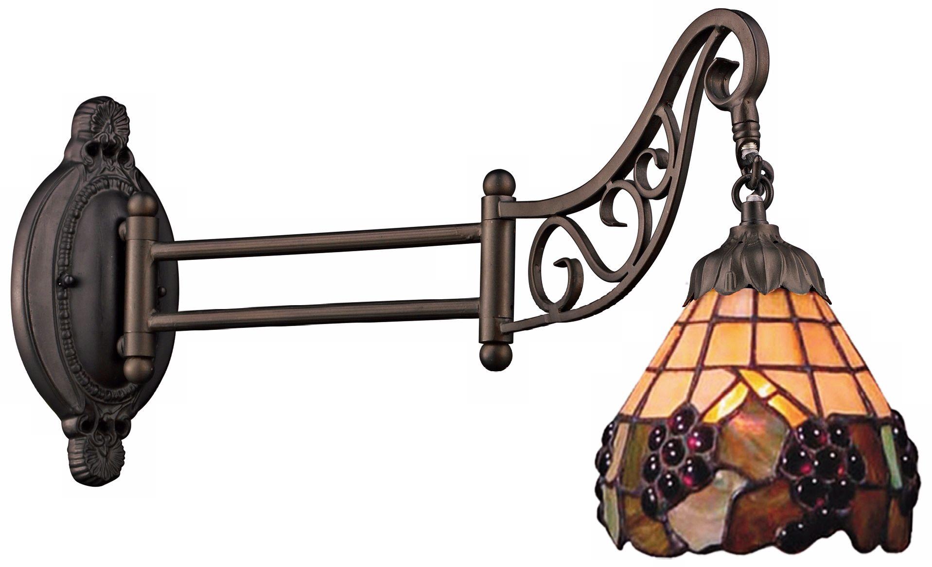 Grape Bronze Tiffany Style Swing Arm Wall Lamp