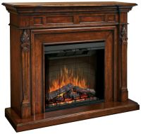 Torchiere Burnished Walnut Electric Fireplace Mantel ...