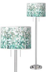 Aqua Mosaic Giclee Brushed Nickel Garth Floor Lamp ...