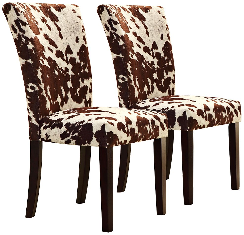 parson chairs wheelchair funny parsons seating lamps plus homebelle set of 2 cowhide print side