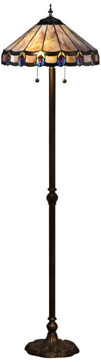 Townsville Antique Bronze Tiffany-Style Floor Lamp ...