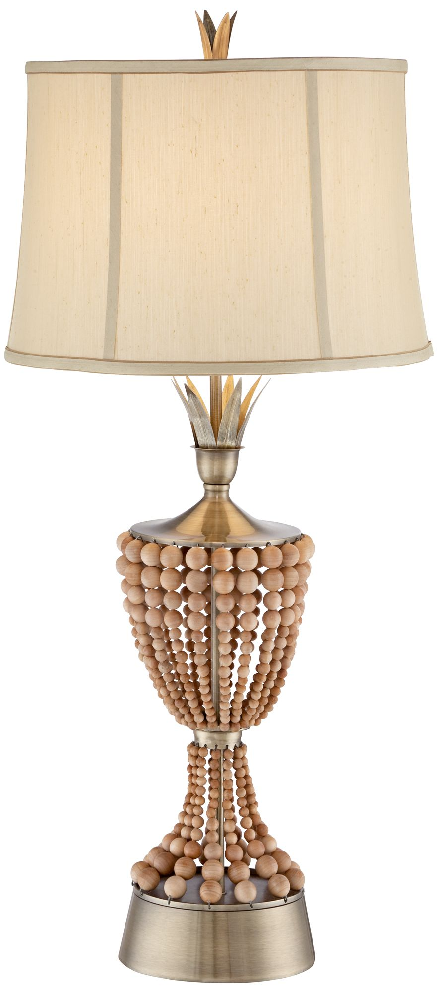 Hana Brass Wood Bead Table Lamp by Possini Euro Design