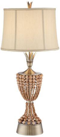 Hana Brass Wood Bead Table Lamp by Possini Euro Design ...