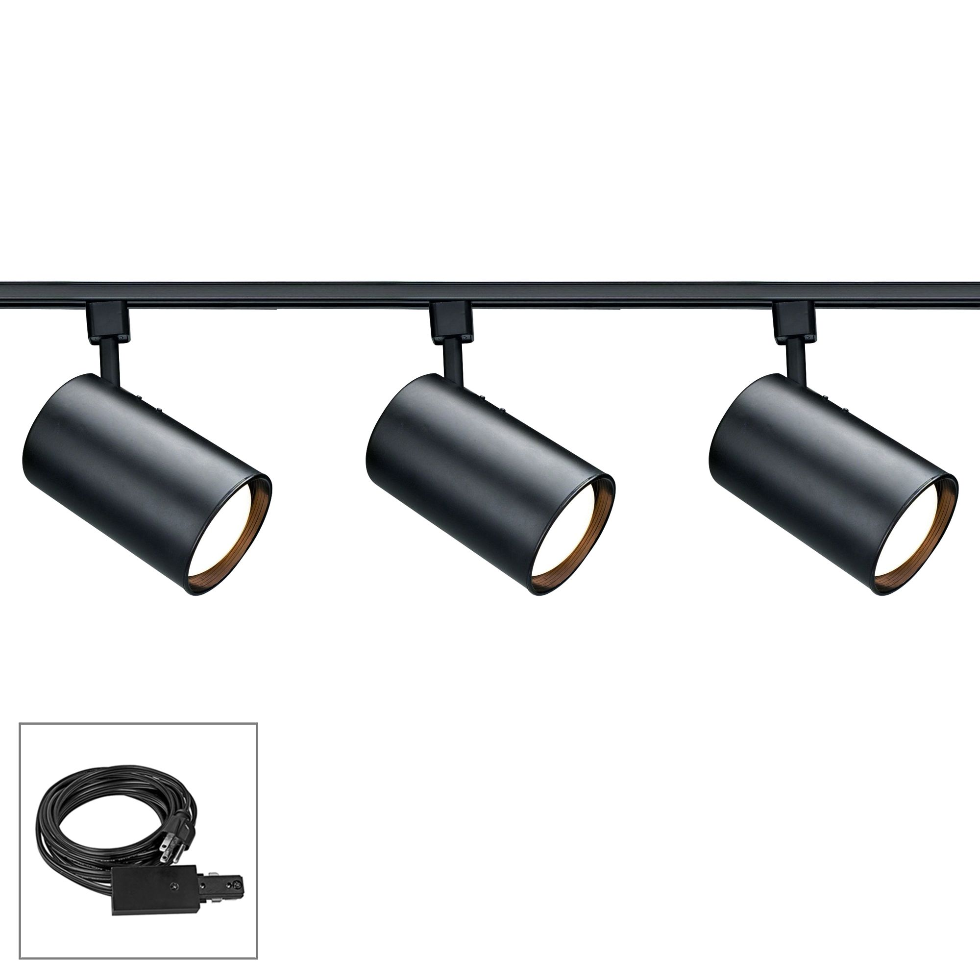 nuvo lighting 3 light black cylinder shade plug in track kit