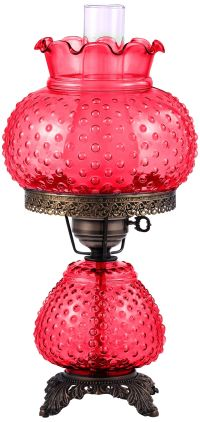 Hobnail Hand-Blown Cranberry Red Glass Accent Table Lamp ...