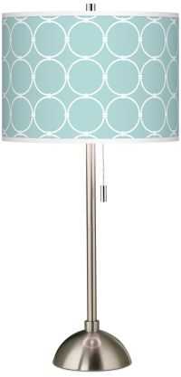 Aqua Interlace Giclee Brushed Steel Table Lamp - #60757 ...