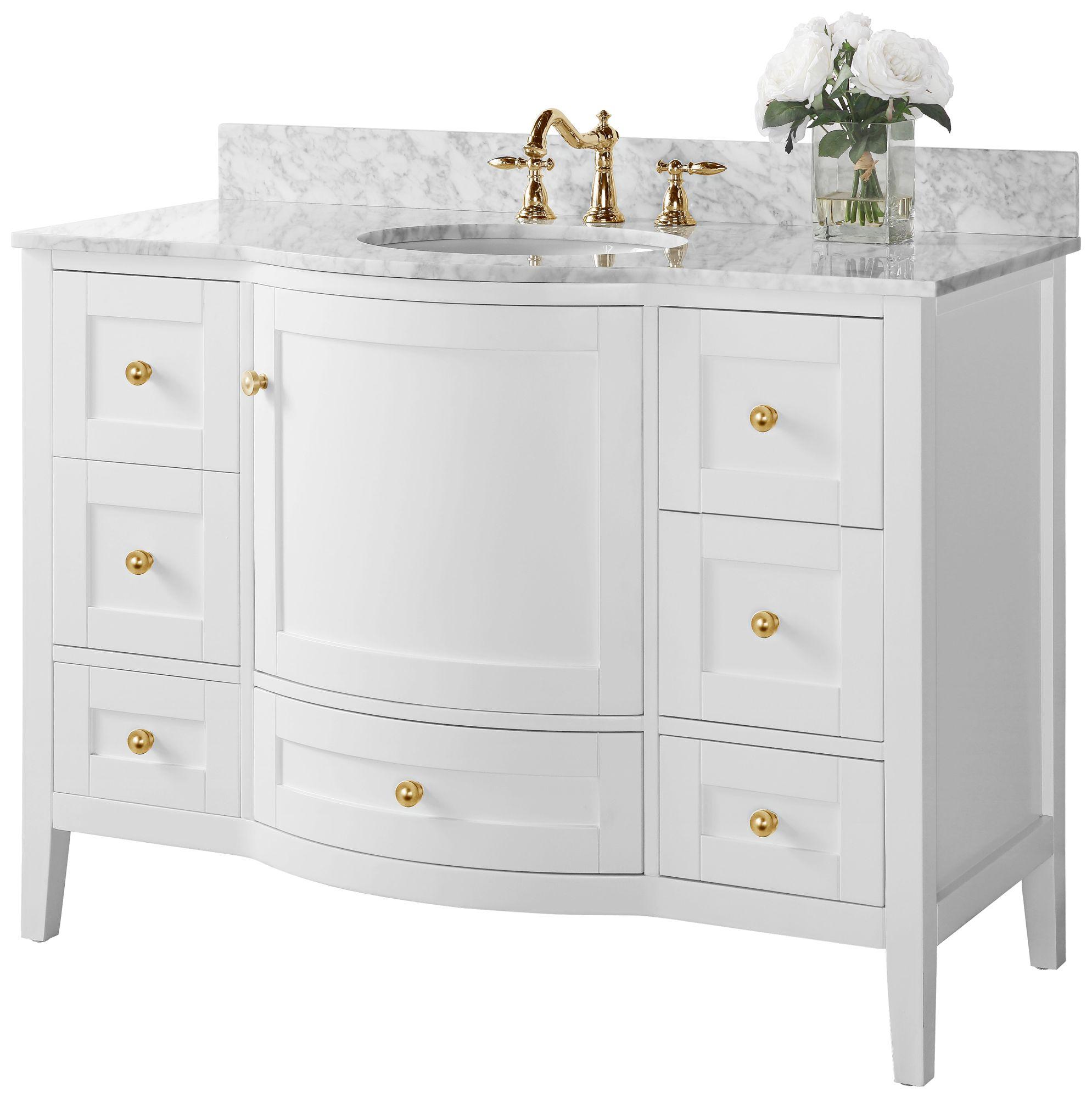 https www lampsplus com products lauren 48 inch wide gold white marble single sink vanity 62x20 html