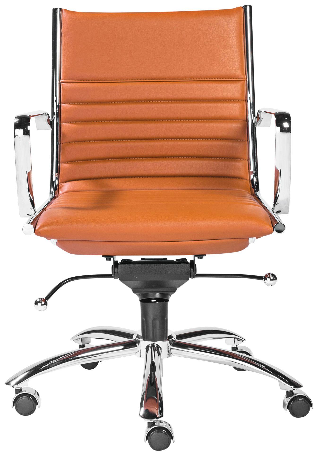 orange office chair cow print covers chairs new home desk lamps plus dirk cognac leatherette low back adjustable