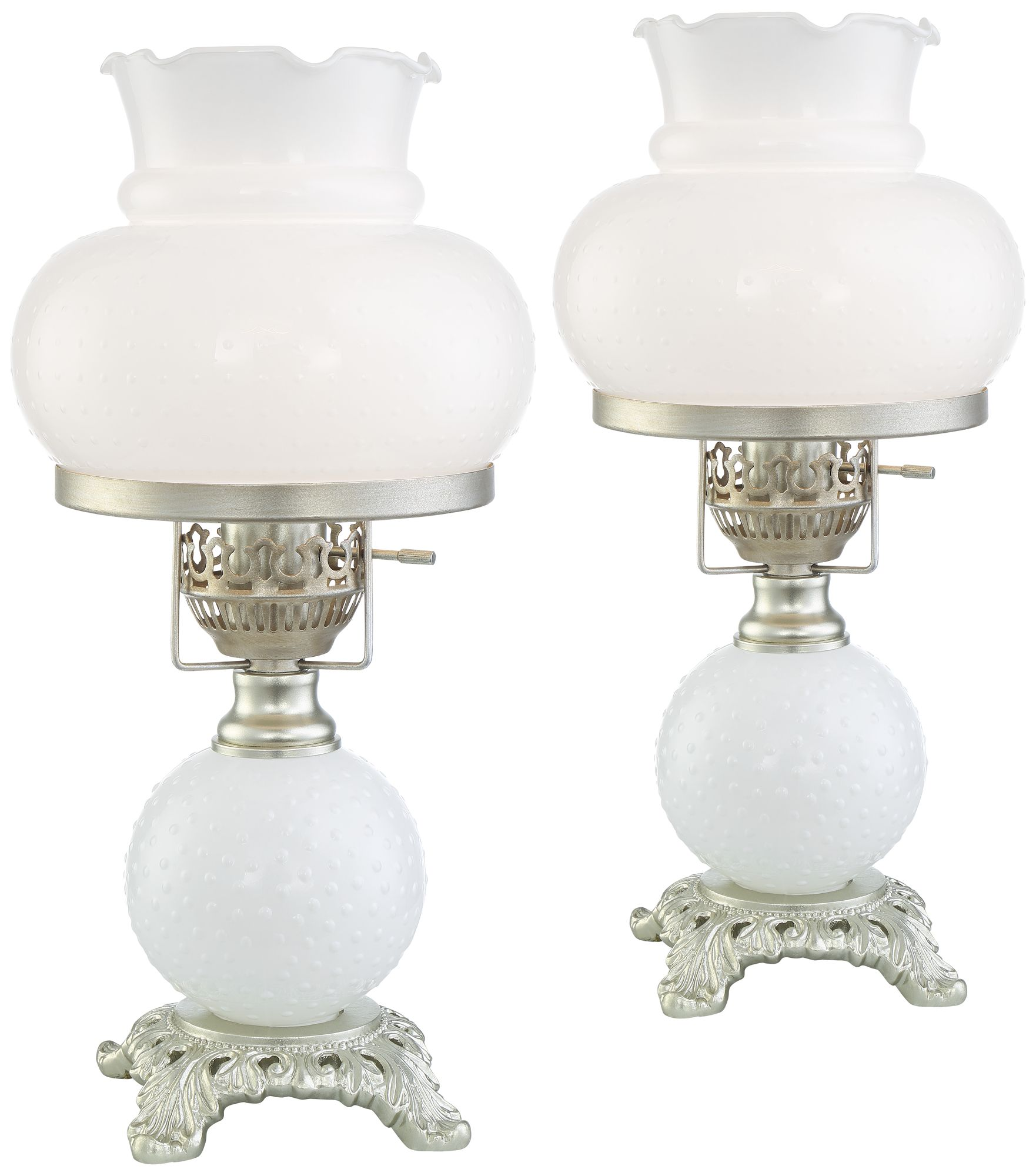 billy 16 high white milk glass hurricane lamps set of 2