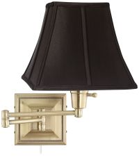 Black Square Shade Brass Beaded Plug-In Swing Arm Wall ...