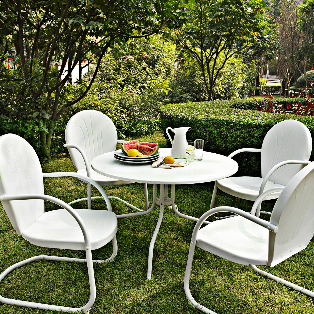 griffith nostalgic white 5 piece outdoor patio dining set