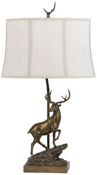 Standing Deer White Shade Bronze Table Lamp