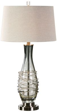 Uttermost Durazzano Charcoal Gray Glass Table Lamp ...