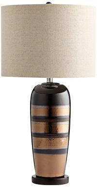 Subra Brass Brown Striped Ceramic Table Lamp - #7X121 ...