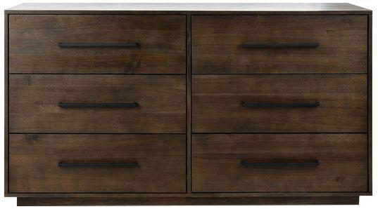 mallory 56 wide dark chocolate 6 drawer dresser