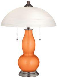 Burnt Orange Metallic Gourd-Shaped Lamp with Alabaster ...