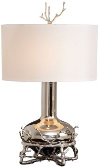 Contemporary Fat Nickel Twig Table Lamp - #8G660 | Lamps Plus